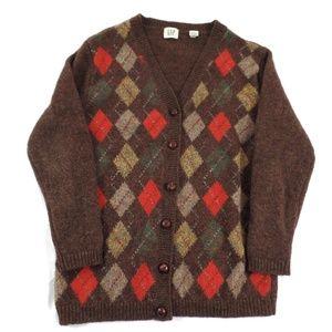 Wool Argyle Grandpa Sweater